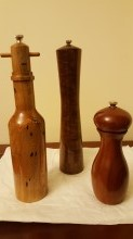 Hand-turned pepper mills crafted by Ted Becker.